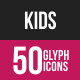 Kids Glyph Inverted Icons