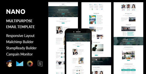 Nano – Multipurpose Responsive Email Template + Stampready Builder