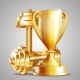 Gold Cup With Golden Realistic Dumbbells. - GraphicRiver Item for Sale
