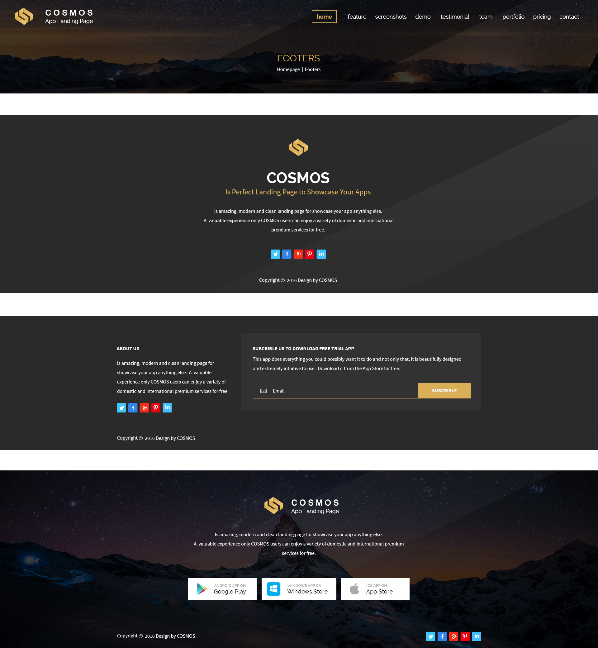 COSMOS - App Landing Pages PSD Template