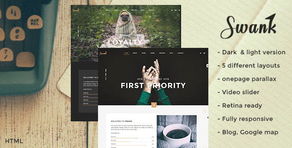 Swank – Creative One Page with Blog template