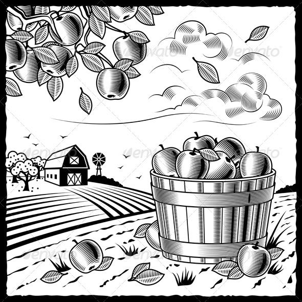 Landscape With Apple Harvest Black And White - Landscapes Nature