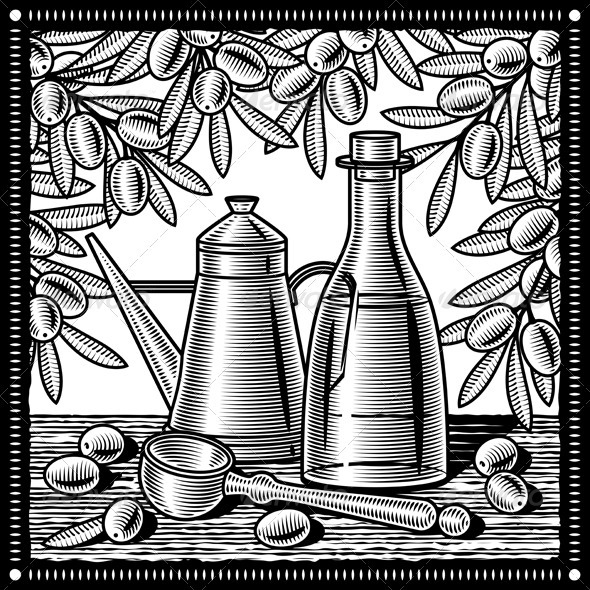 Retro Olive Oil Still Life Black And White - Food Objects