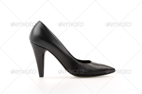 High heel pump black leather women shoe on white - Stock Photo - Images