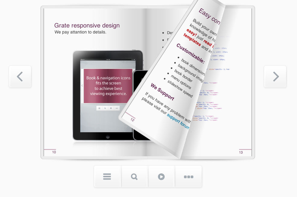 Responsive flipbook jquery by mpc codecanyon for Html flip book template