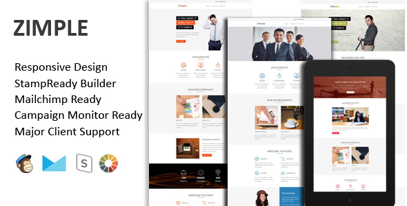ZIMPLE - Multipurpose Responsive Email Template + Stamp Ready Builder - Email Templates Marketing