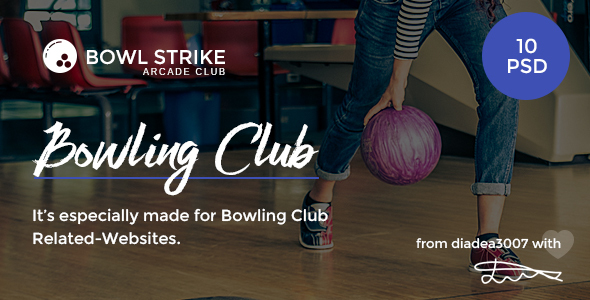 Bowl Strike – Bowling Arcade Club PSD Template
