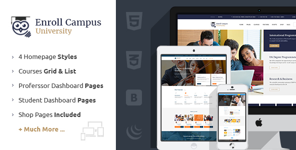 Enroll University | College School – Responsive Education Template