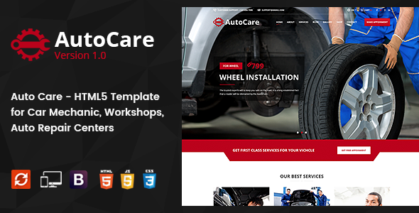 Auto Care - HTML5 Template for Car Mechanic, Workshops, Auto Repair Centers