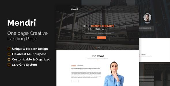 Mendri – Landing Page – PSD Template