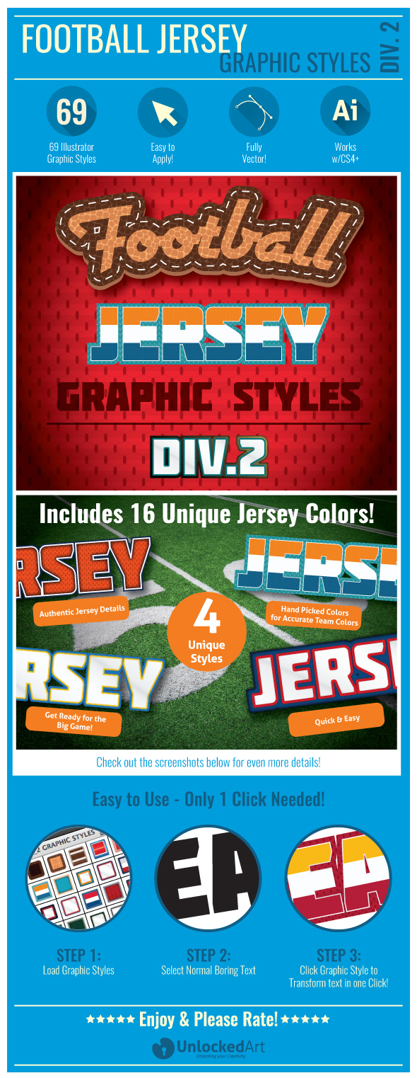 Football Jersey Div 2 Graphic Styles - Illustrator Add-ons