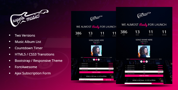 Superb Music - Coming Soon Responsive Template - Under Construction Specialty Pages
