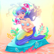 Young Mermaid with a Couple of Fish Around Her - GraphicRiver Item for Sale