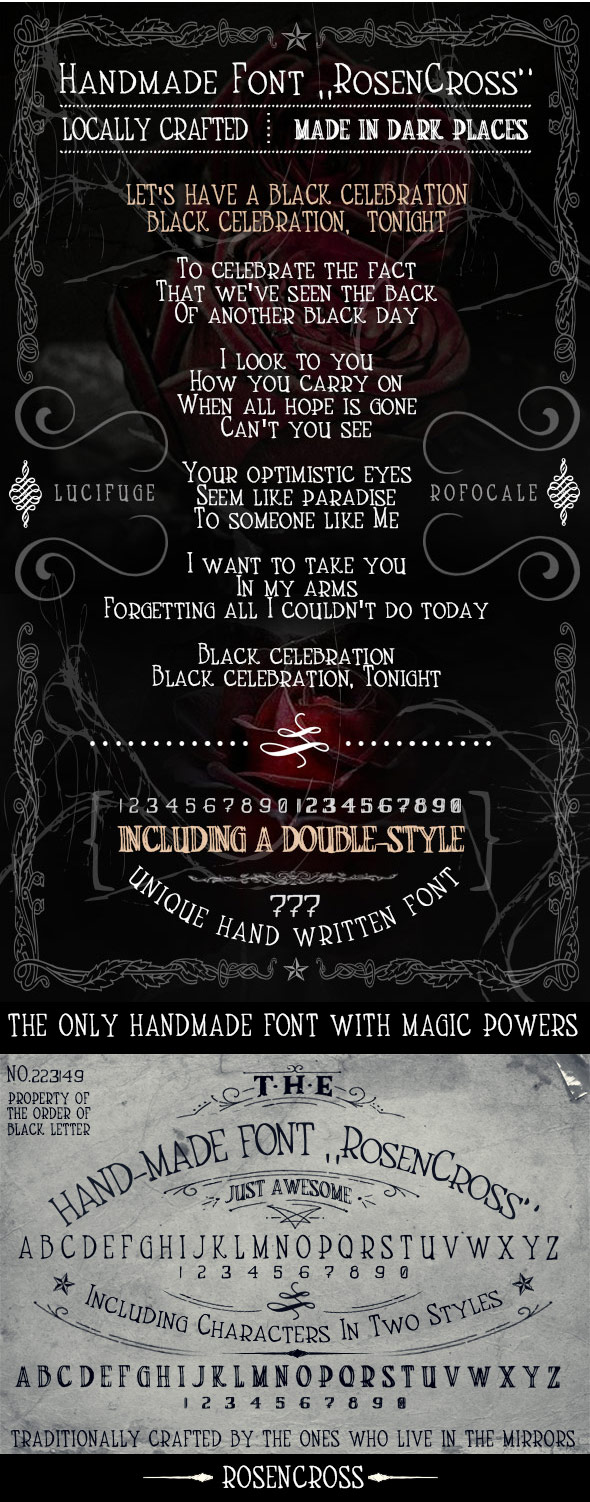 Handmade Font RosenCross - Handwriting Fonts
