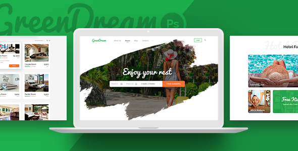 Green Dream – Hotel PSD Template - Travel Retail