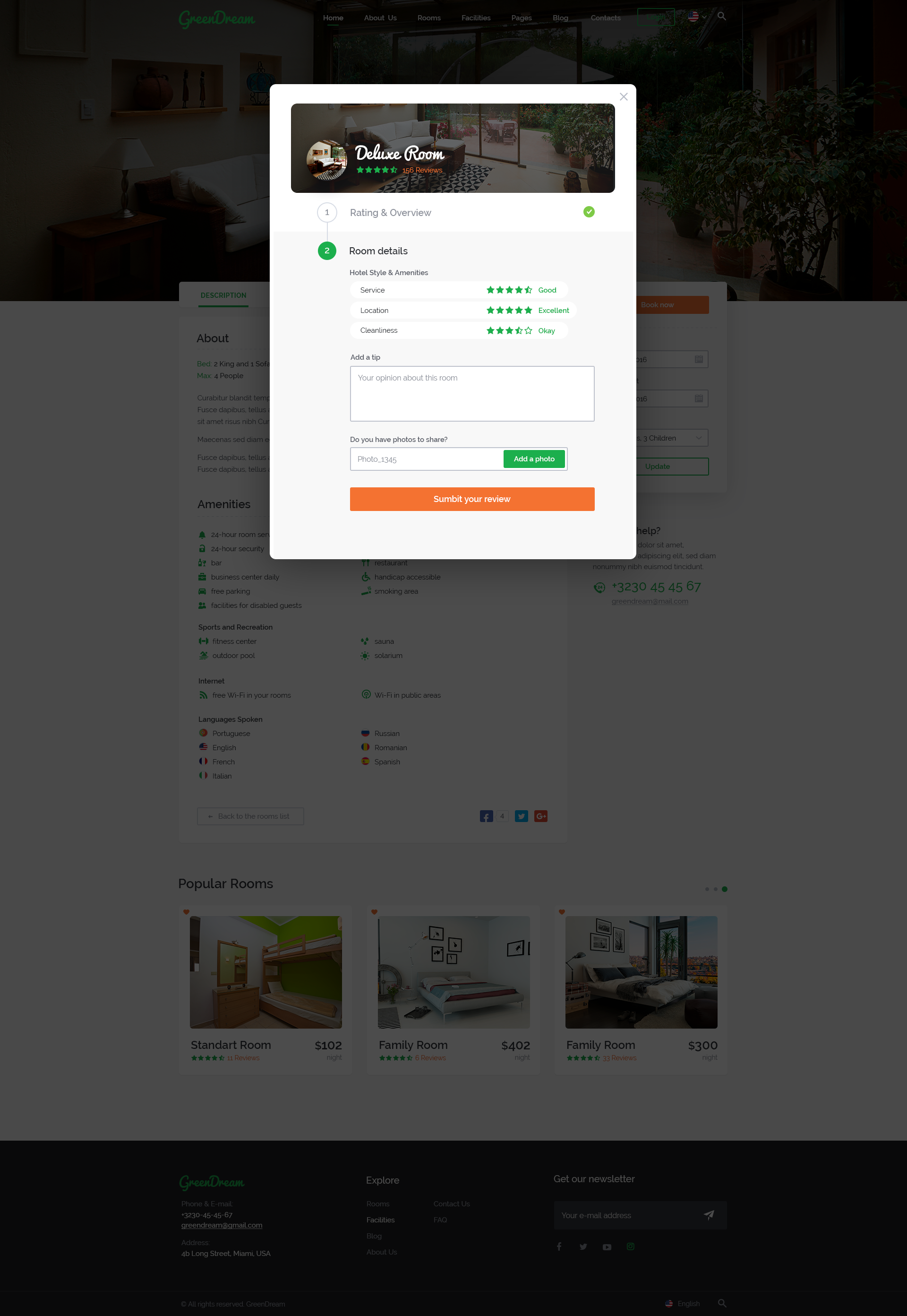 Green Dream – Hotel PSD Template by Yulko | ThemeForest