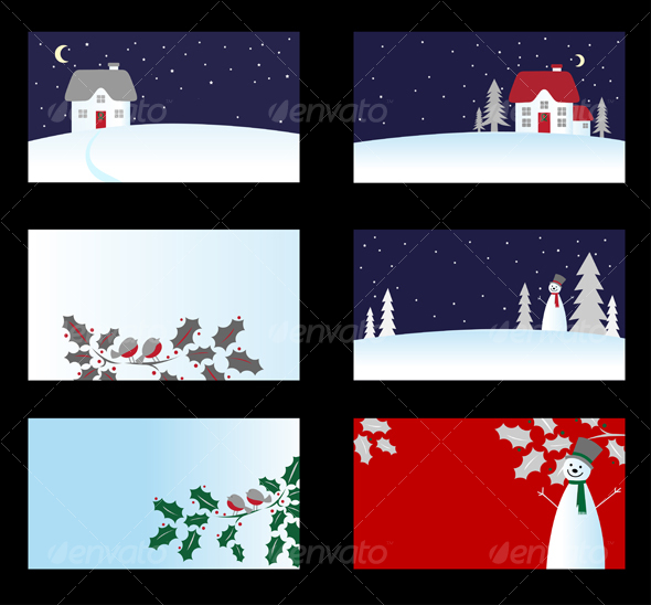 Set of christmas cards - Christmas Seasons/Holidays
