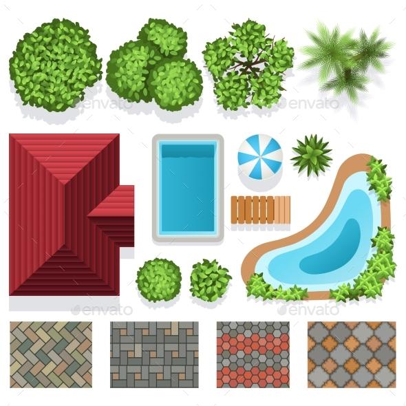 Landscape garden design vector elements top view by for Garden design elements