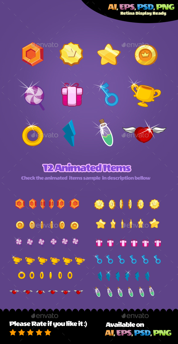 Animated Items - Sprites Game Assets