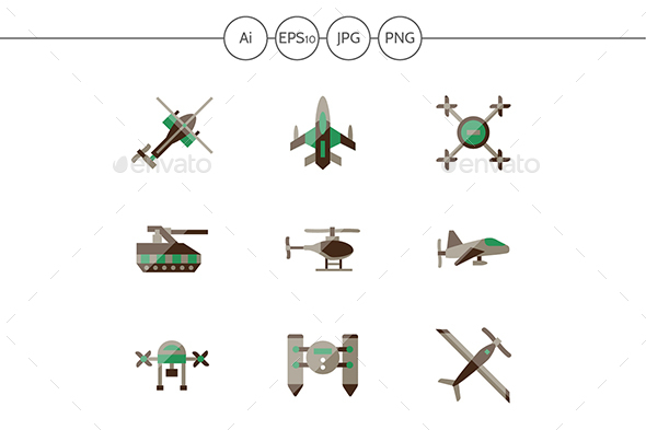 Unmanned robots flat color vector icons - Man-made objects Objects