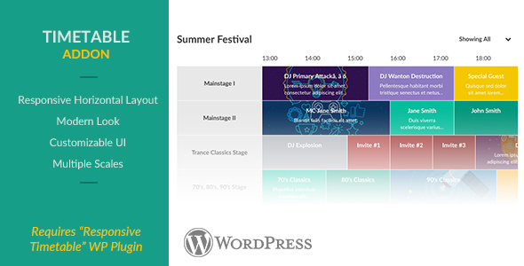 Responsive Timetable - Horizontal Addon - CodeCanyon Item for Sale