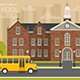 School Building, Flat Style. Vector Illustration. - GraphicRiver Item for Sale