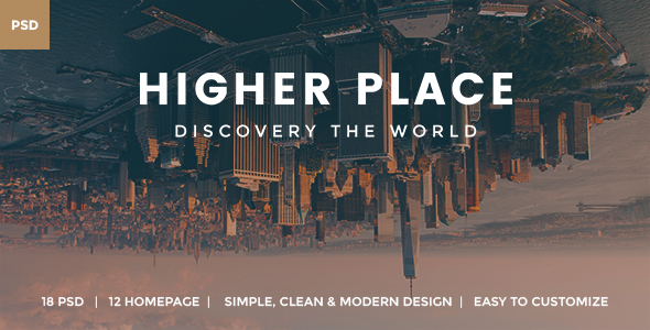 Higher Place - Travel Minimalist Blog PSD Template - PSD Templates