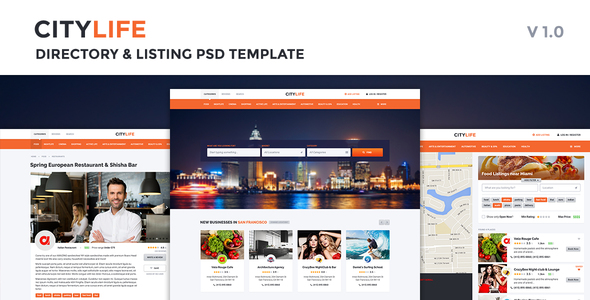 CityLife Directory & Listing PSD Template - PSD Templates