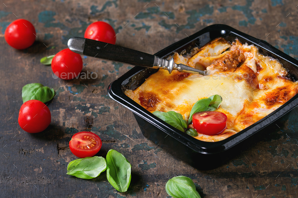 Lasagna in plastic box - Stock Photo - Images
