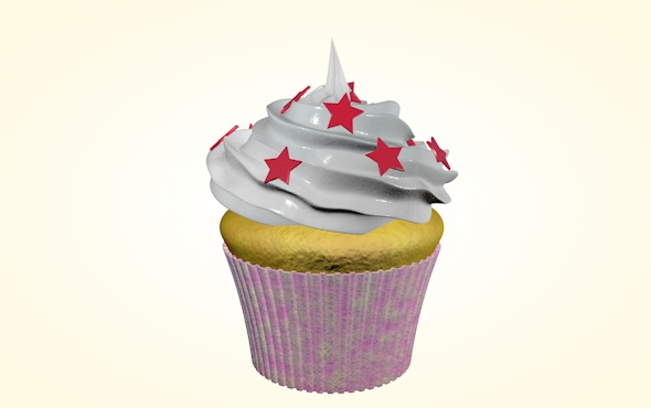 Cupcake with stars - 3DOcean Item for Sale