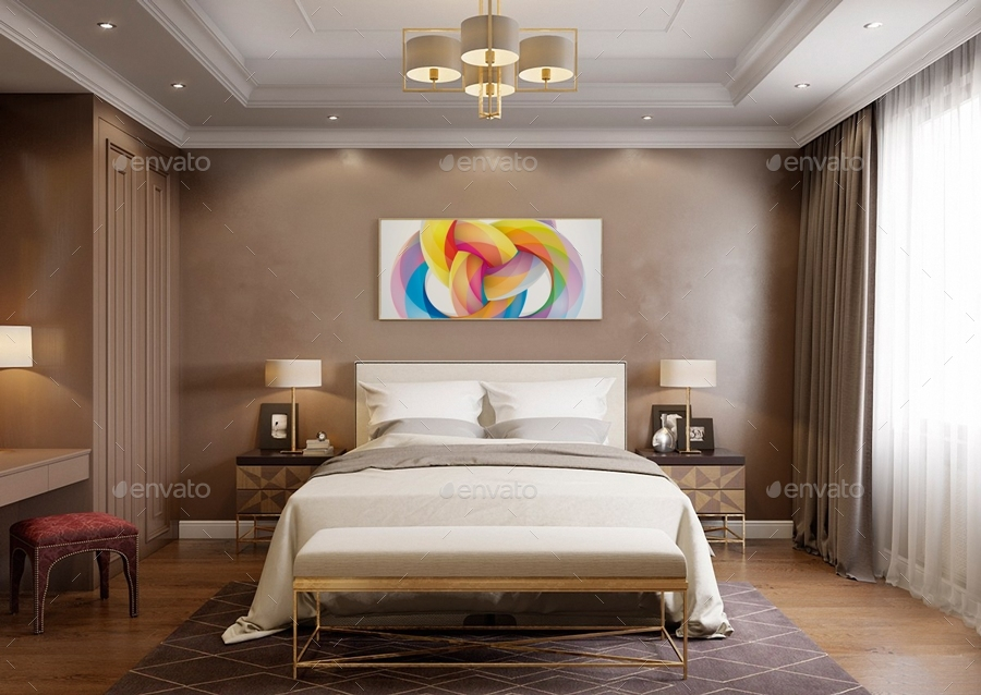 Art Wall Gallery Mockup Vol 1 Front View Bedroom By