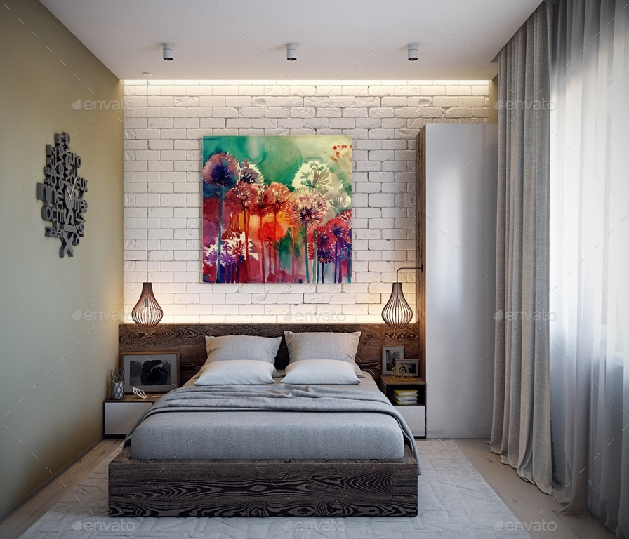 Art Wall Gallery Mockup vol.1 - Front View Bedroom by attractordesign