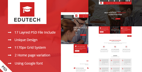 EDUTECH - Education,Course and Event Template - Corporate PSD Templates