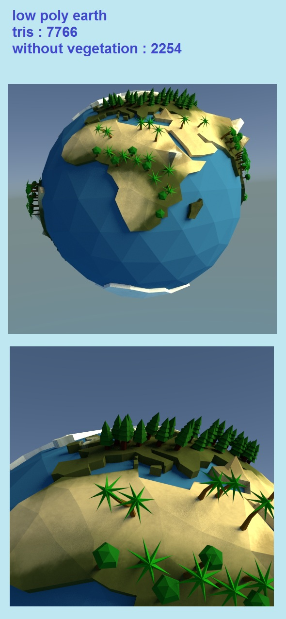 low poly earth planet - 3DOcean Item for Sale