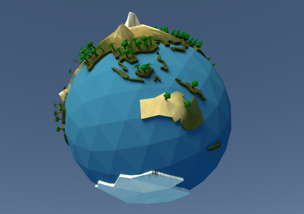 Low Poly Earth Planet By Aminepaleo 3docean