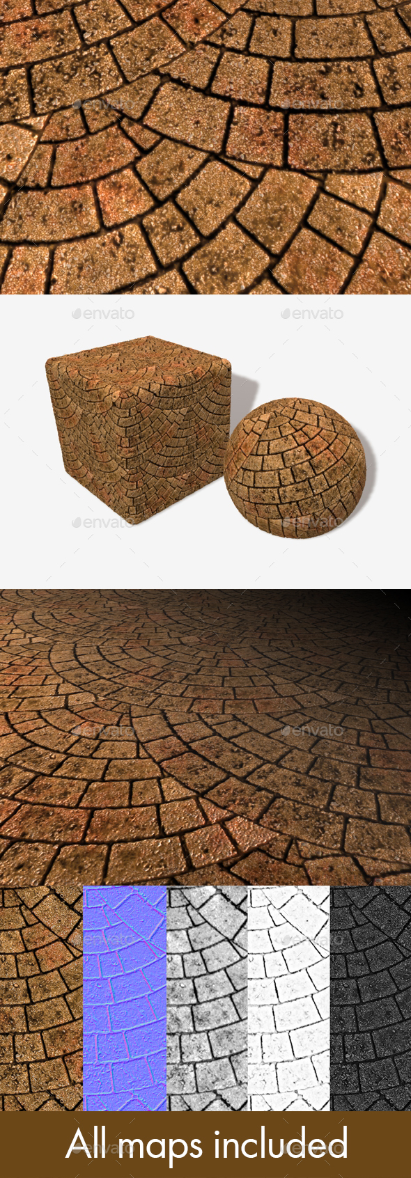 Red Brick Paving Circle Pattern Seamless Texture - 3DOcean Item for Sale