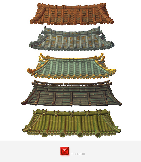 Asian Modular Roof Set - 3DOcean Item for Sale