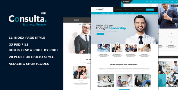 Consulta - Multi-Purpose Business & Financial PSD Template  - Corporate PSD Templates