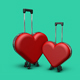 Two Red Heart Suitcases - GraphicRiver Item for Sale