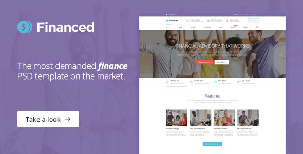Financed – Finance, Consulting, Business PSD Template