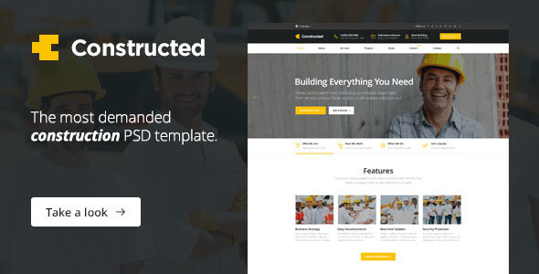 Constructed – Construction, Building, Factory PSD Template