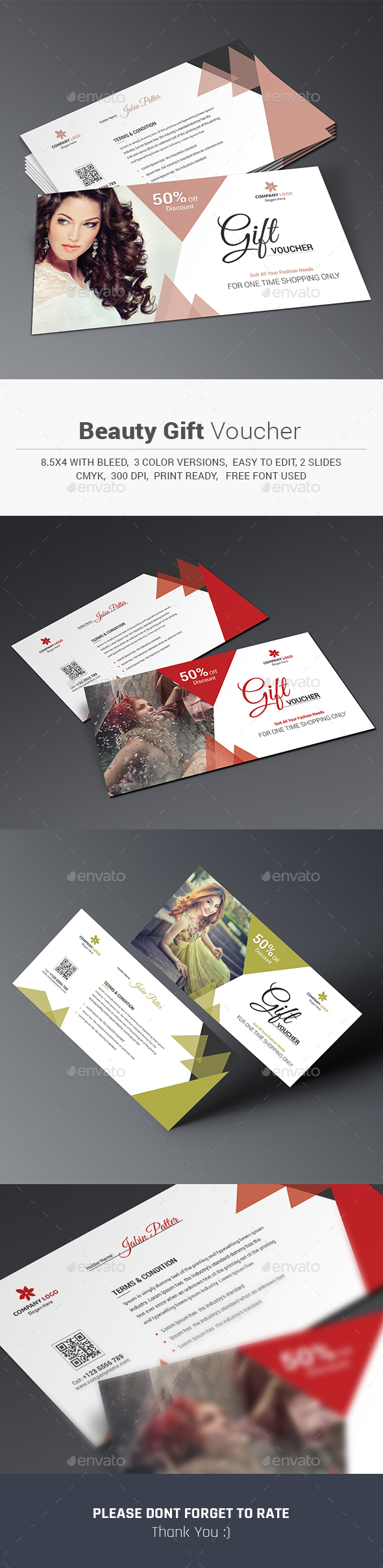 Beauty Gift Voucher - Cards & Invites Print Templates