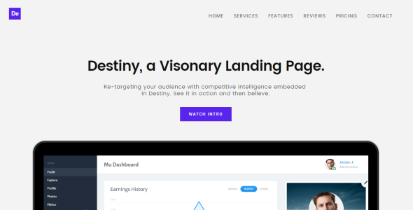 Destiny Multipurpose HTML Landing Page Template