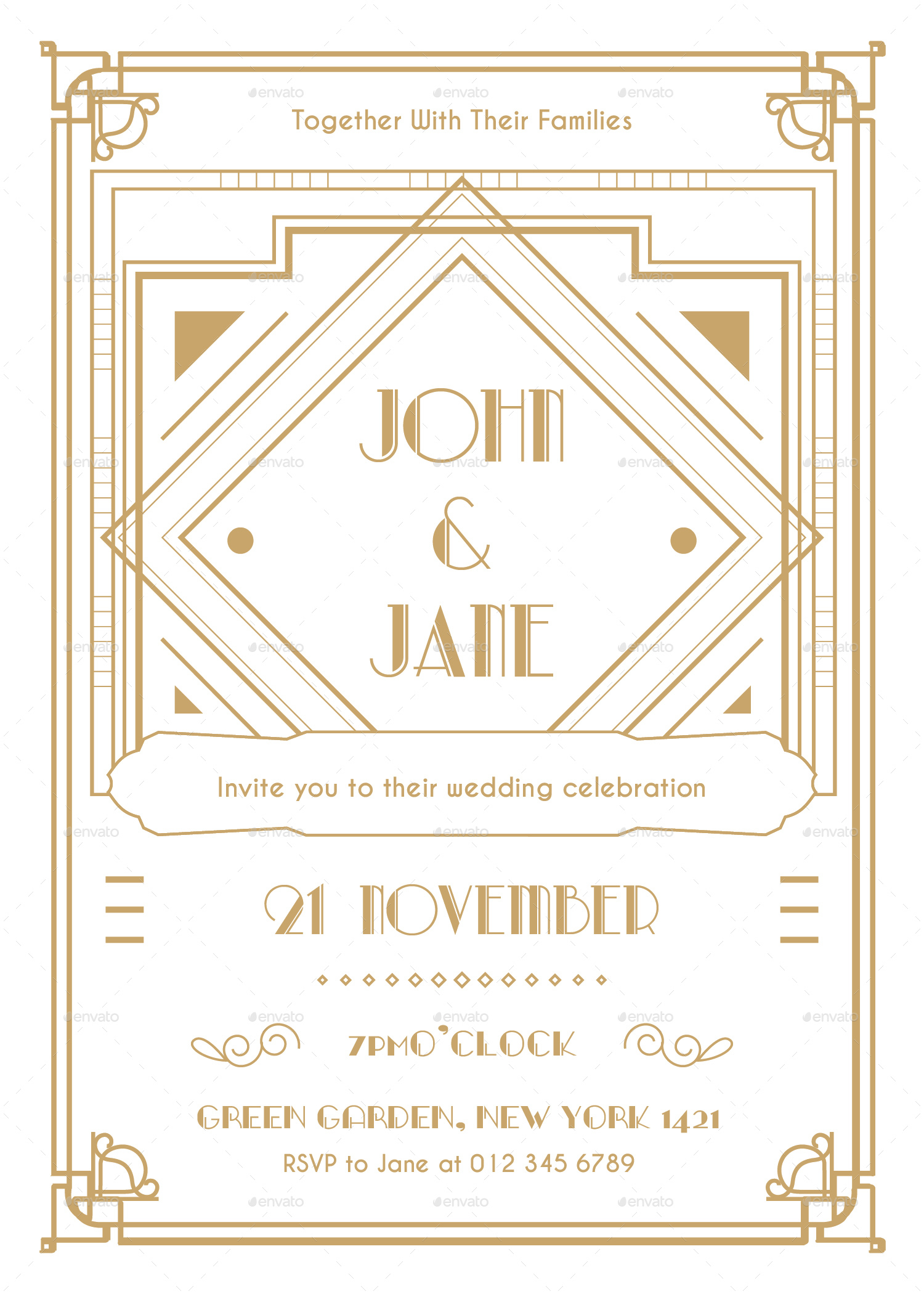 Art Deco Wedding Invitation Vol 02 01 Jpg