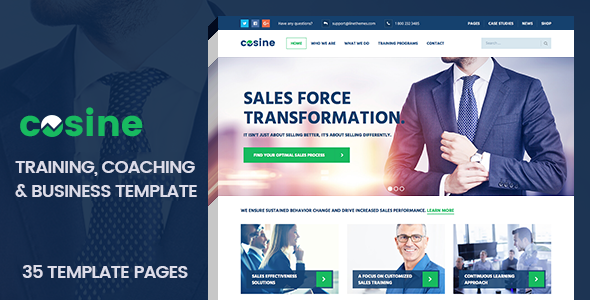 cosine training coaching business html template by. Black Bedroom Furniture Sets. Home Design Ideas