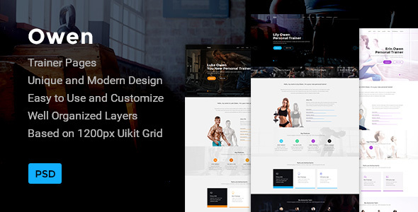 Owen — Personal Trainer Landing page PSD Template - Health & Beauty Retail