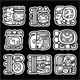 Maya Glyphs, Writing System and Languge Vector Design on Black Background - GraphicRiver Item for Sale