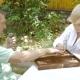 Elderly Couple Playing Backgammon In The Garden. - VideoHive Item for Sale