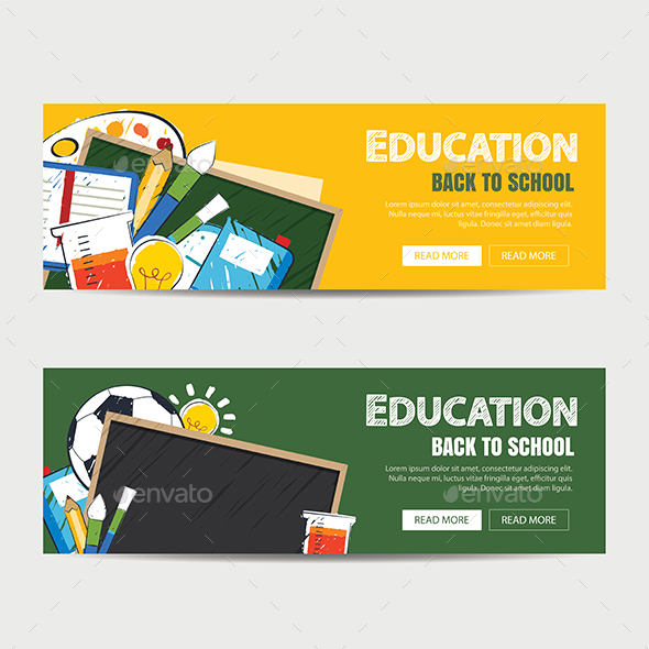 Education Banner and Back to School Background Template - Web Elements Vectors