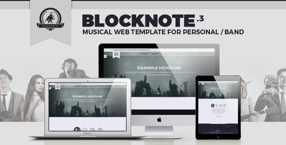 Blocknote - Responsive Website for Band/Musician - Music and Bands Entertainment